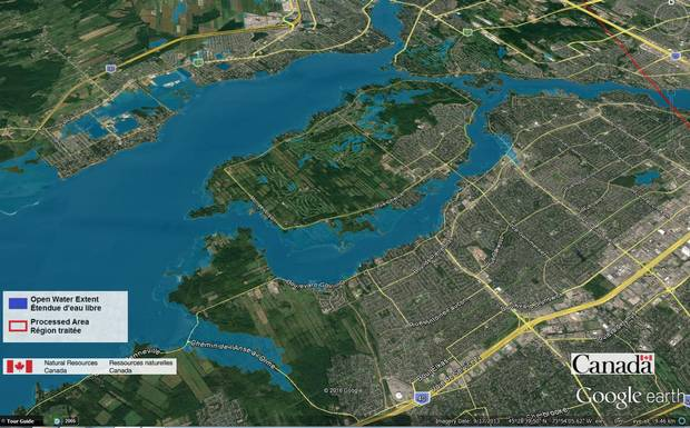 Data from Canada's RADARSAT-2 satellite was used to construct this view of flooding around Lac des Deux-Montagne in Quebec, where the Ottawa River encounters the island of Montreal. The blue in the image shows the extent of open water on May 7, 2017, while the outlines of flooded lands appear in lighter blue.