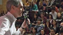 Liberal Leader Michael Ignatieff speaks to high-school students in Richmond, B.C., on Nov 12, 2010. (Jonathan Hayward/THE CANADIAN PRESS)