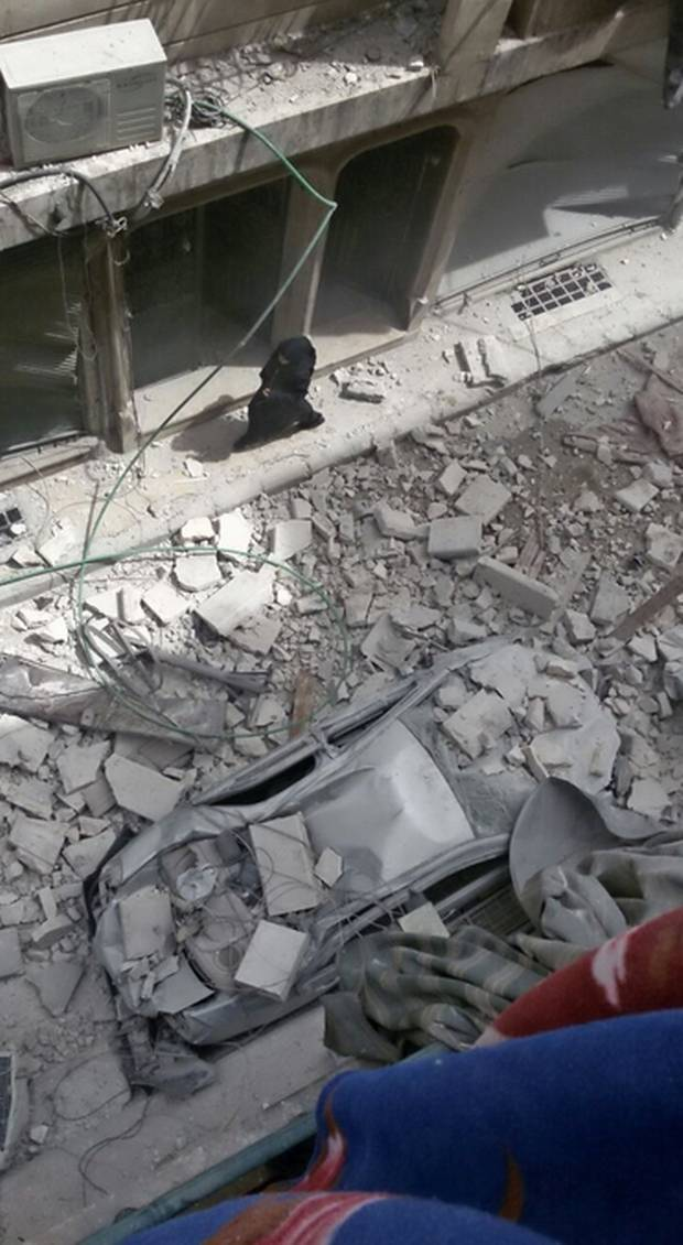This photo posted to Bana Alabed's Twitter account shows bomb damage in the Aleppo neighbourhood where the seve-year-old lives with her family.