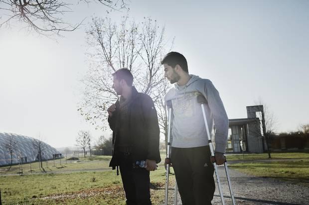 Basel and Osama Omran outside the refugee camp in Neubiberg.