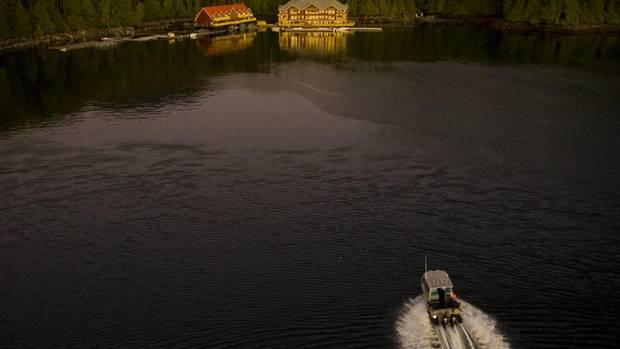 King Pacific Lodge, nestled in a cove in Barnard Harbour just south of Kitimat, recently earned Travel + Leisure's Global Vision Award for Green Luxury. (JOHN LEHMANN/The Globe and Mail)
