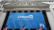 A banner announcing Linkedin Inc. listing on the New York Stock Exchange hangs on the face of the building in New York, May 19, 2011. (Mike Segar/Reuters/Mike Segar/Reuters)