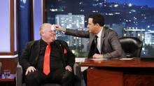 "This March 3, 2014 image released by ABC shows Toronto Mayor Rob Ford, left, having his forehead wiped by host Jimmy Kimmel on the late night talk show ""Jimmy Kimmel Live,"" in Los Angeles. Ford laughed off Jimmy Kimmel's suggestion that he get help for his drinking problem and was reported to be upset about his appearance on the late-night TV talk show. Ford's appearance Monday night on ""Jimmy Kimmel Live"" in Los Angeles was the culmination of months of wooing by the talk-show host to get Ford to appear as a guest. (AP Photo/ABC, Randy Holmes) (Randy Holmes/AP)"