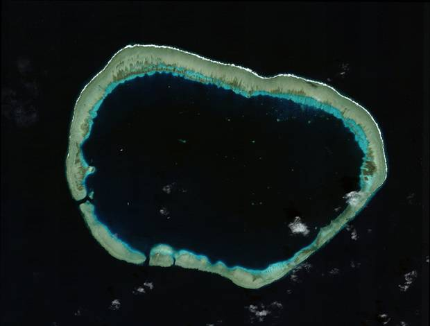 Mischief Reef lies in the Spratly Islands, which China has sought to lay claim to in order to further its maritime claims in the South China Sea. Here's the reef as shown on Jan. 24, 2012 ...