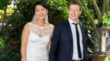 Facebook founder and CEO Mark Zuckerberg and Priscilla Chan at their wedding ceremony in Palo Alto, Calif., Saturday, May 19, 2012. (Associated Press)