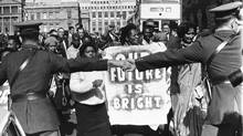 African National Congress supporters protest the 1964 Rivonia trial. (ASSOCIATED PRESS)