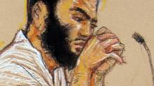 In a court sketch vetted by the U.S. Department of Defense, Omar Khadr listens to testimony during his war-crimes trial before a military tribunal in Guantanamo Bay, Cuba, in May of 2010. (Janet Hamlin/Janet Hamlin)