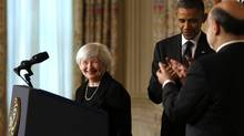 U.S. President Barack Obama and outgoing Federal Reserve Chairman Ben Bernanke (R) applaud after Obama nominated Janet Yellen (L) to serve as the next head of the Federal Reserve at the White House in Washington October 9, 2013. (KEVIN LAMARQUE/REUTERS)