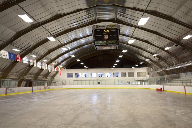 The hockey rink in Boyle, Alta., used as an evacuation shelter during the 2016 fire.