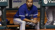Toronto Blue Jays starting pitcher Ricky Romero sits in the dugout after being removed during the first inning of a baseball game against the Tampa Bay Rays on Wednesday, May 8, 2013, in St. Petersburg, Fla. (MIKE CARLSON/AP)