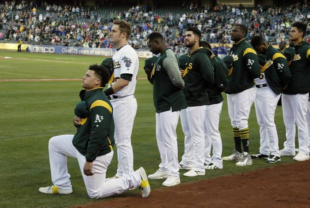 Bruce Maxwell of the Oakland Athletics has become the first major league baseball player to kneel during the national anthem.