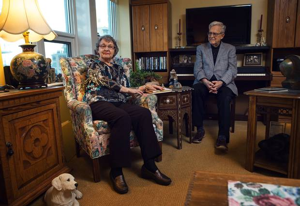 Marny, left, and Roy Loach relax in their room at Dunfield Retirement Residence.