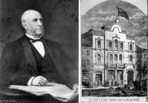 Left: George Brown, shown in a portrait by John Wycliffe Lowes Forster. Right: On the day of Confederation, The Globe's office was on King Street East in a building shared with the biweekly Canada Farmer newspaper.