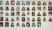 Detail of a poster board showing 48 of the missing women displayed outside the court house in New Westminster Jan. 30, 2007, the seventh day of the Robert Pickton trial. (John Lehmann/The Globe and Mail/John Lehmann/The Globe and Mail)