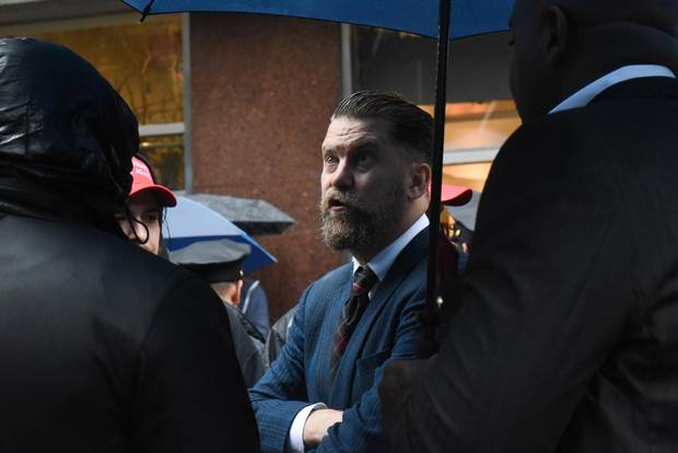 Gavin Mcinnes takes part in protest of Muslim activist Linda Sarsour on April 25, 2017 in New York City.