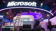 Workers set up a Microsoft booth in preparation for the 2011 International Consumer Electronics Show (CES) at the Las Vegas Convention Center in Las Vegas, Nevada January 4, 2011. (STEVE MARCUS/REUTERS/STEVE MARCUS/REUTERS)