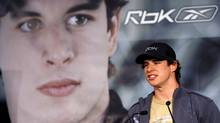 Pittsburgh Penguins' Sidney Crosby talks to the media after introducing a new line of clothing from Reebok on Tuesday, August 21, 2007 in Mississauga, Ont. (NATHAN DENETTE)