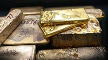 Gold bars from melted gold jewellery and pure gold bars are seen at Express Gold in Toronto (Moe Doiron/Moe Doiron/The Globe and Mail)