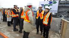 Ontario Premier Kathleen Wynne, Mayor Rob Ford, TTC Chair Karen Stintz, Glen Murray, Ontario Minister of Transportation and Infrastructure, Lisa Raitt, Minister of Labour, and the Mayor of Vaughan, Mayor Maurizio Bevilacqua were among the dignitaries and officials who were given a tour of the site of the new TTC station of the Toronto-York Spadina Subway extension in Vaughan near the intersection of Hwy 407 and Jane Street. (Peter Power/The Globe and Mail)