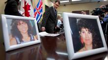 Photos of Robert Pickton victims Diane Rock, left, and Cara Ellis are displayed as British Columbia NDP leader Adrian Dix, centre, and Lilliane Beaudoin, Diane Rock's sister, arrive for a news conference in Vancouveron Thursday March 29, 2012. (DARRYL DYCK/THE CANADIAN PRESS/DARRYL DYCK/THE CANADIAN PRESS)