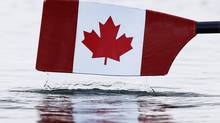 A Canadian flag is seen painted on a scull oar during the women's lightweight double sculls heat at Eton Dorney during the London 2012 Olympic Games July 29, 2012. (JIM YOUNG/Reuters)