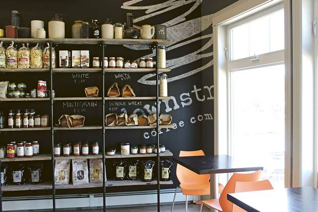 Downstreet Coffee Company and its selection of indie skin care and gourmet foodstuffs.