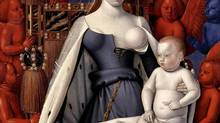Agnès Sorel, official mistress of King Charles VII, served as the model for Mary in Jean Fouquet's Virgin and Child Surrounded by Angels. This is a detail of the painting.
