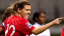 Canada's Christine Sinclair celebrates her penalty kick goal against Cuba during the first half of play in a CONCACAF women's Olympic qualifying soccer game in Vancouver, B.C., on Saturday January 21, 2012. (The Canadian Press)