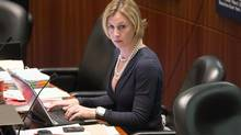 Toronto City Councillor and TTC Chair Karen Stintz attends a council meeting on Nov. 28, 2012. Stinz has hinted that she might be open to a possible by-election campaign. (Chris Young For The Globe and Mail)