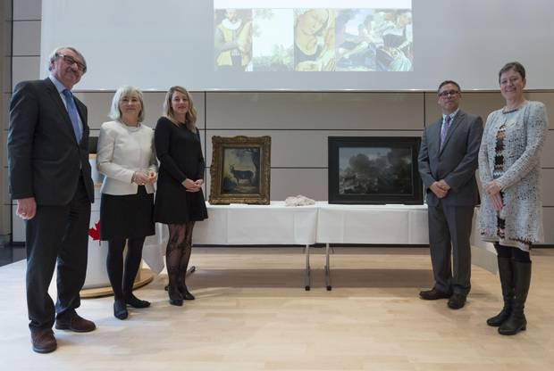 From left, Guenter Stock, president of German Friends of Hebrew University; Marie Gervais-Vidricaire, Canada's ambassador to Germany; Heritage Minister Mélanie Joly, Clarence Epstein of the Stern Restitution Project and Susanne Anna a museum director mark the recovery of two paintings on Monday in Berlin.