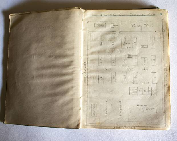 A page from Jack Maclean Mason's wartime journal maps out the buildings in the POW camp.