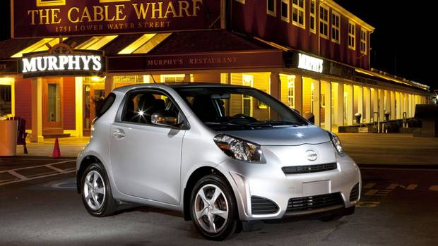 2012 Scion iQ, a micro-subcompact, has a turning circle of 3.9 metres - smaller than a Fiat 500 or a Smart fortwo. (Toyota)