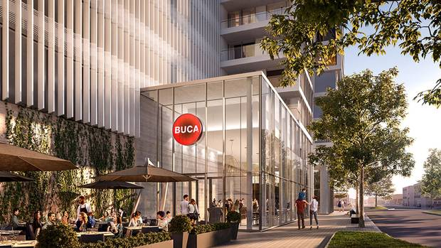 The development will house the first Buca restaurant outside of Toronto.