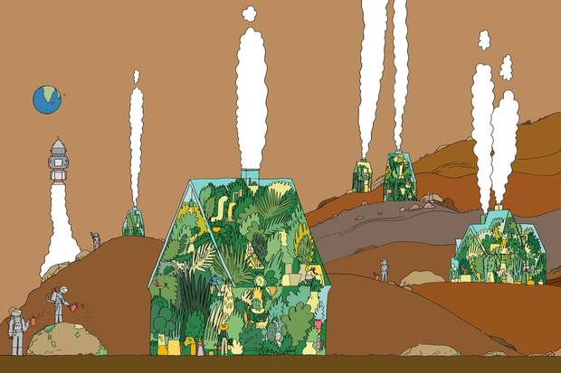 An illustration shows house-like habitats on the Martian surface, with astronauts tending gardens outside and the Earth in the background.