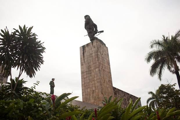 A guard stands on top of the Che Guevara Mausoleum in Santa Clara, Cuba.