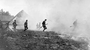 Attacking under smoke during the Second Battle of Ypres in Belgium during the First World War in 1915.