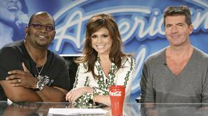 A promotional images from Fox shows American Idol judges Randy Jackson, Paula Abdul and Simon Cowell.