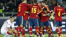 Spain's players celebrate a goal during their 2014 World Cup qualifying soccer match against Georgia at Boris Paichadze Stadium in Tbilisi September 11, 2012. (DAVID MDZINARISHVILI/REUTERS)
