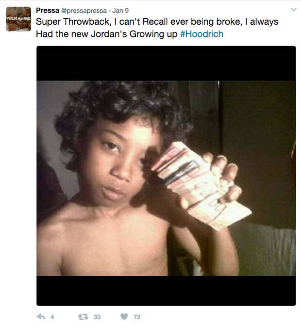 Pressa, whose real name is Quinton Armani Gardner, is shown as a young boy.