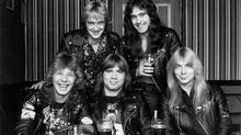 Clive Burr (far left) with Iron Maiden in a photo from the news release announcing Burr's death on the band's official website. (ironmaiden.com)
