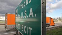 Trucks approach the border crossing at the Peace Bridge between Fort Erie, Ont., and Buffalo N.Y. (Glenn Lowson for The Globe and Mail/Glenn Lowson for The Globe and Mail)