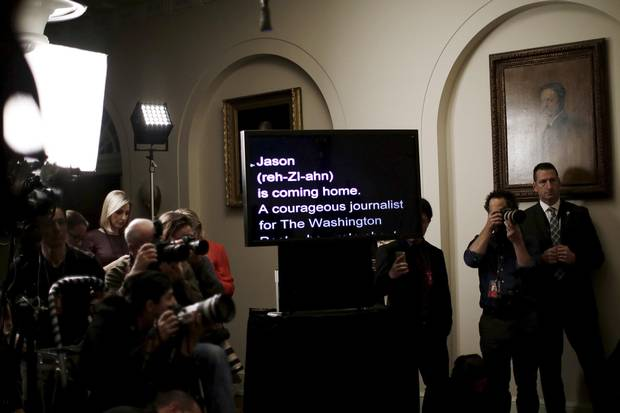 A teleprompter used by U.S. President Barack Obama reads the announcement of the release of Jason Rezaian, an Iranian-American journalist, during a statement on Iran at the White House in January.