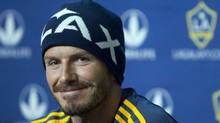 LA Galaxy's David Beckham smiles during a news conference in Montreal May 11, 2012. (Christinne Muschi/Reuters/Christinne Muschi/Reuters)