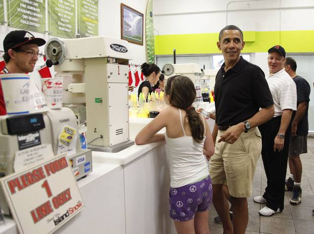 Dec. 27, 2010: President Barack Obama orders Shave Ice with family and friends at Island Snow at Kailua Beach Center in Kailua, Hawaii.