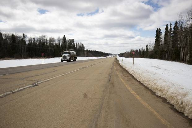 Highway 63 south of Fort McMurray, photographed April 22, 2017.