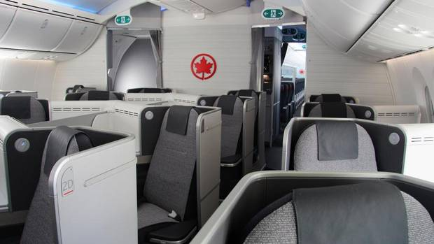 The international business-class cabin features 20 lie-flat seat beds. Travellers may fly Air Canada's new plane on select domestic and transatlantic flights this summer as the 787 aircraft are introduced into the fleet. (AIR CANADA)