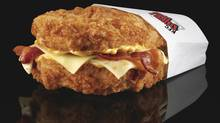 This undated product image provided by KFC shows their new Double Down sandwich. (Dan Kremer/AP/Dan Kremer/AP)