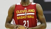 Andrew Wiggins of the Cleveland Cavaliers prepares to take a free throw against the Milwaukee Bucks in an NBA summer league basketball Friday, July 11, 2014, in Las Vegas. (John Locher/AP)