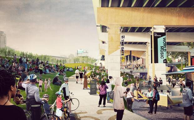 The Bentway's first phase begins at the west end, at Strachan Avenue, with an open-air theatre and performance zone.