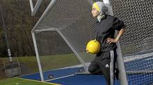 Elham Seyed Javad wears her design for a sports hijab in Montreal, May 1, 2012. Her design is in competition to become the headscarf chosen by FIFA, which is lifting its ban on the head coverings in soccer. (Christinne Muschi/Christinne Muschi/The Globe and Mail)